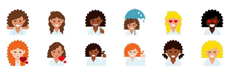 Emoji pro kudrnaté ženy Dove